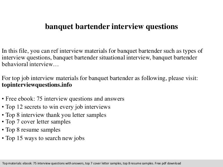 Banquet bartender interview questions