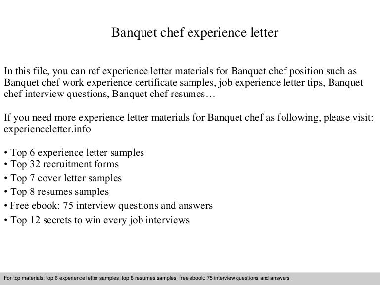 banquetchefexperienceletter 140901115055 phpapp02 thumbnail 4jpgcb1409572278 - Banquet Chef Job Description