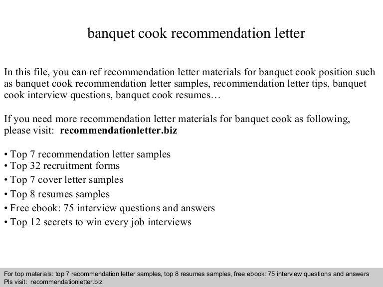 banquet cook recommendation letter