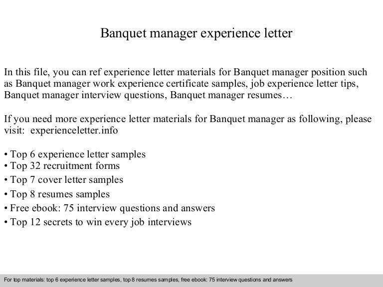 Banquet Manager | Resume CV Cover Letter