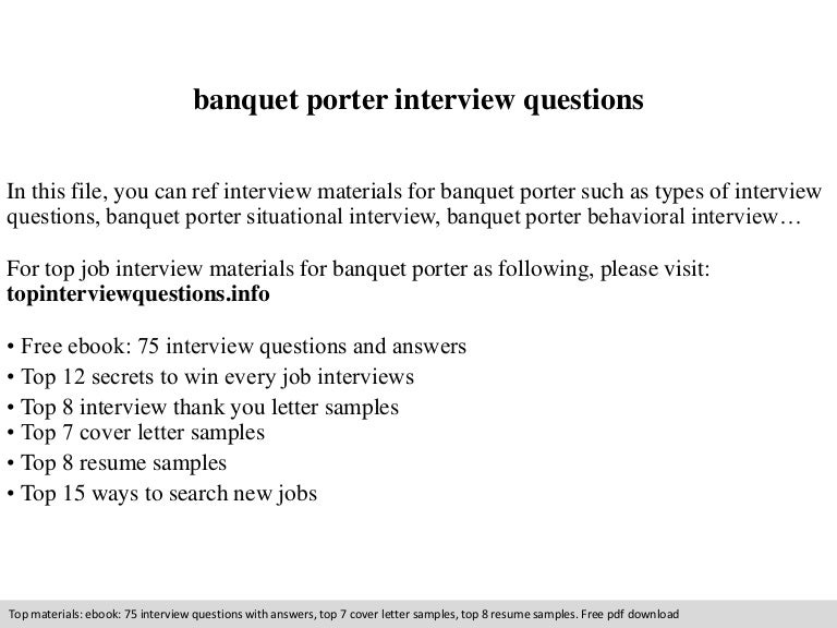 banquet porter interview questions - Banquet Porter Sample Resume