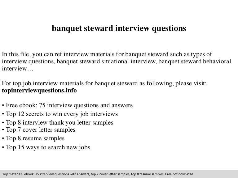 Banquet steward interview questions