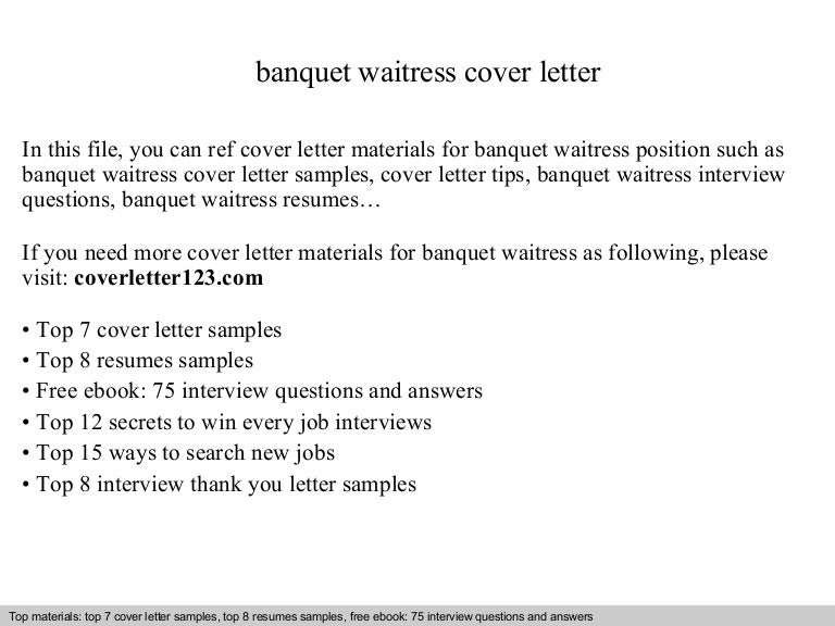banquet waitress cover letter. Resume Example. Resume CV Cover Letter