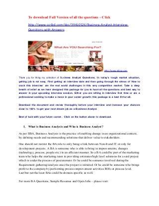 CBAP V3 Scenario Based Questions  Elicitation - Set 01