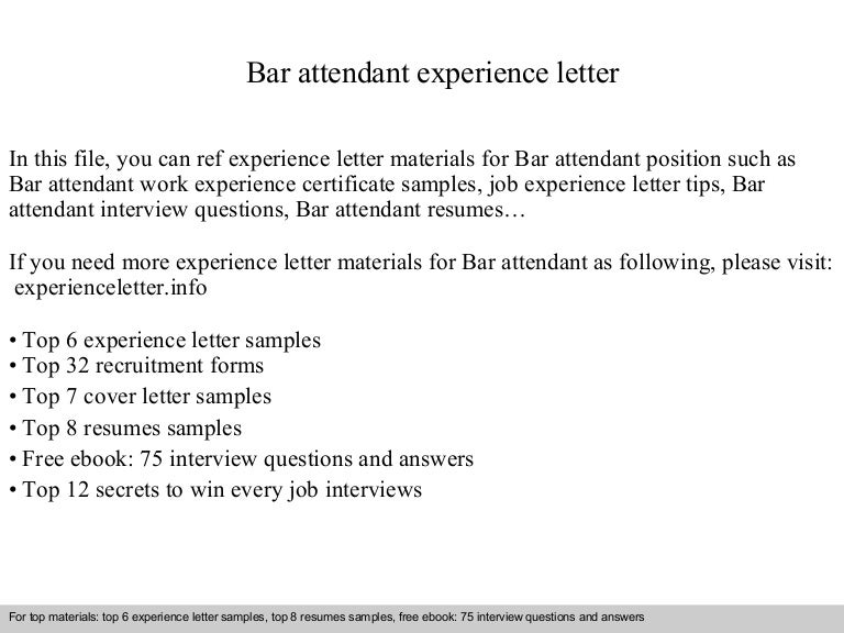 Bar attendant experience letter