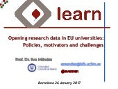 Opening Research Data in EU Universities: Policies, Motivators and Challenges