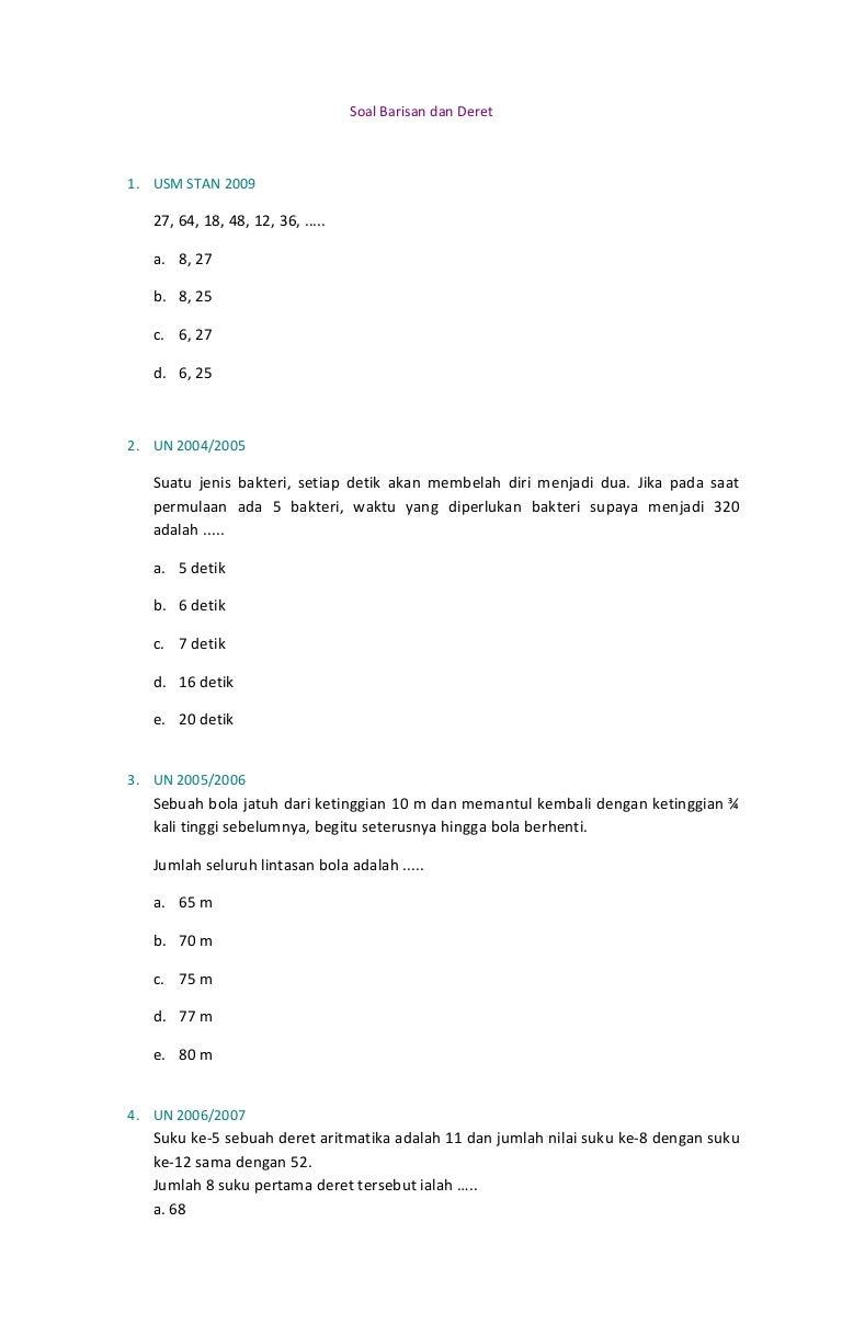 23 Contoh Soal Deret Aritmatika Kelas 11 Beserta Jawabannya Kumpulan Contoh Soal