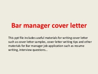 Bar Manager Duties Resume And Resume Templates