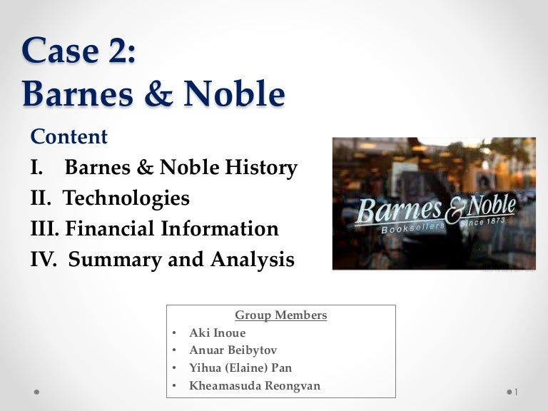 barnes & noble case study essay Barnes & noble, inc porter five forces analysis strategic management essays, term papers & presentations porter five forces analysis is a strategic management tool to analyze industry and understand underlying levers of profitability in a given industry.