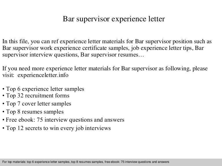 Bar supervisor resume sample supervisor resume templates student barsupervisorexperienceletter 140901123152 phpapp02 thumbnail 4 jpg cb 1409574736 yelopaper Gallery
