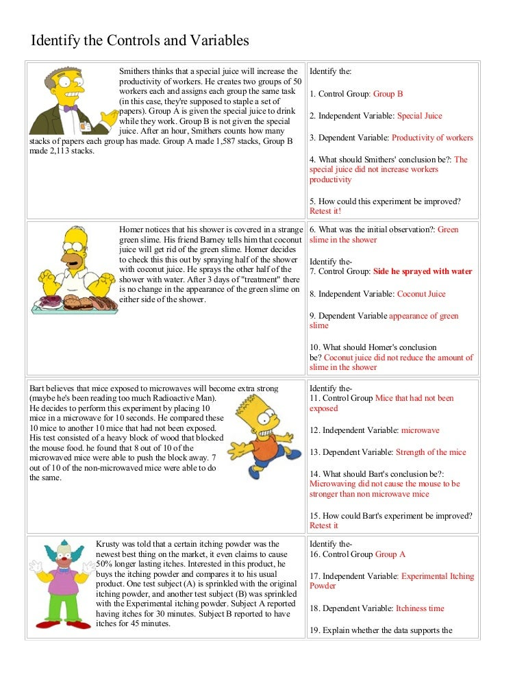 Printables Independent And Dependent Variables Worksheet Science bart simpson controls and variables with answers