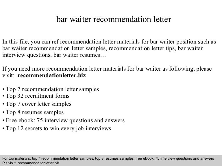 bar waiter recommendation letter - Job Letter Of Recommendation
