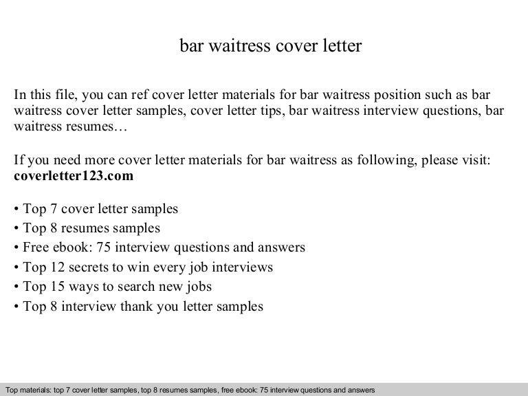 bar waitress cover letter - Waitress Cover Letter