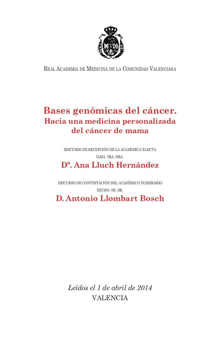 Bases genómicas del cáncer. hacia una medicina personalizada del cán…