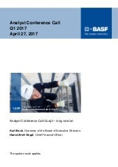 BASF speech analyst conference call Q1 2017