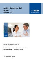 BASF speech analyst conference call Q2 2017 final