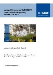 BASF speech analyst conference call Q3 2017