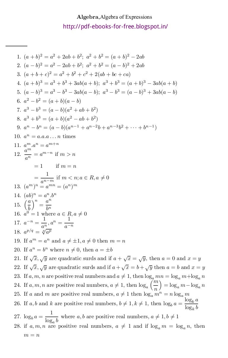 Mathematical formulas pdf all