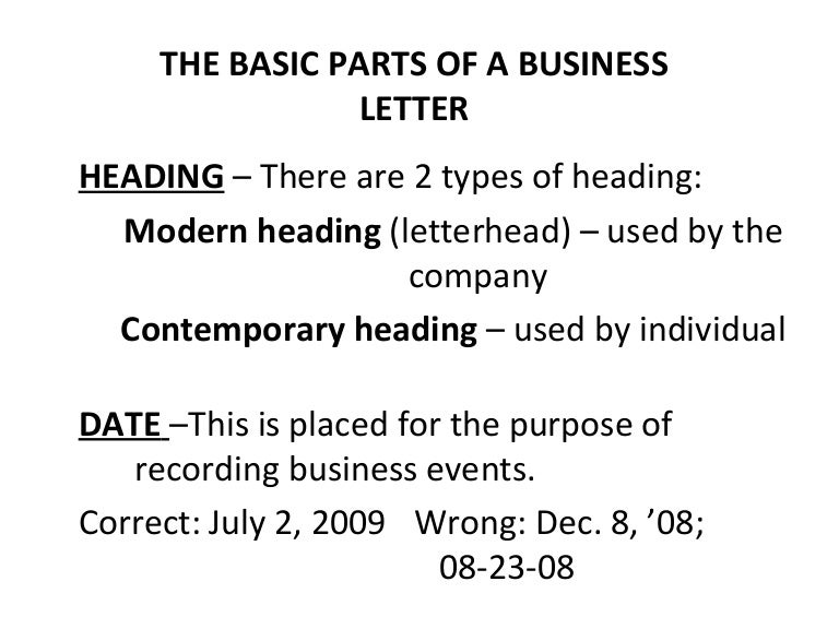 Basic And Miscellaneous Parts Of Business Letter