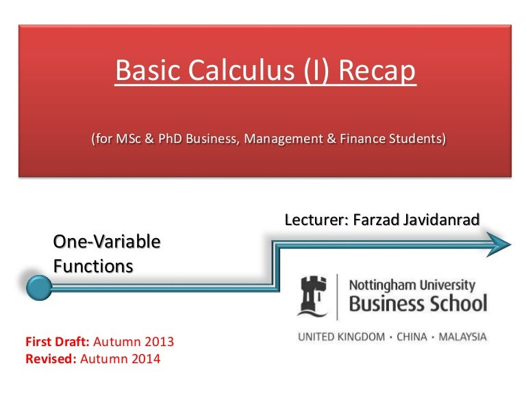 Basic calculus (i)