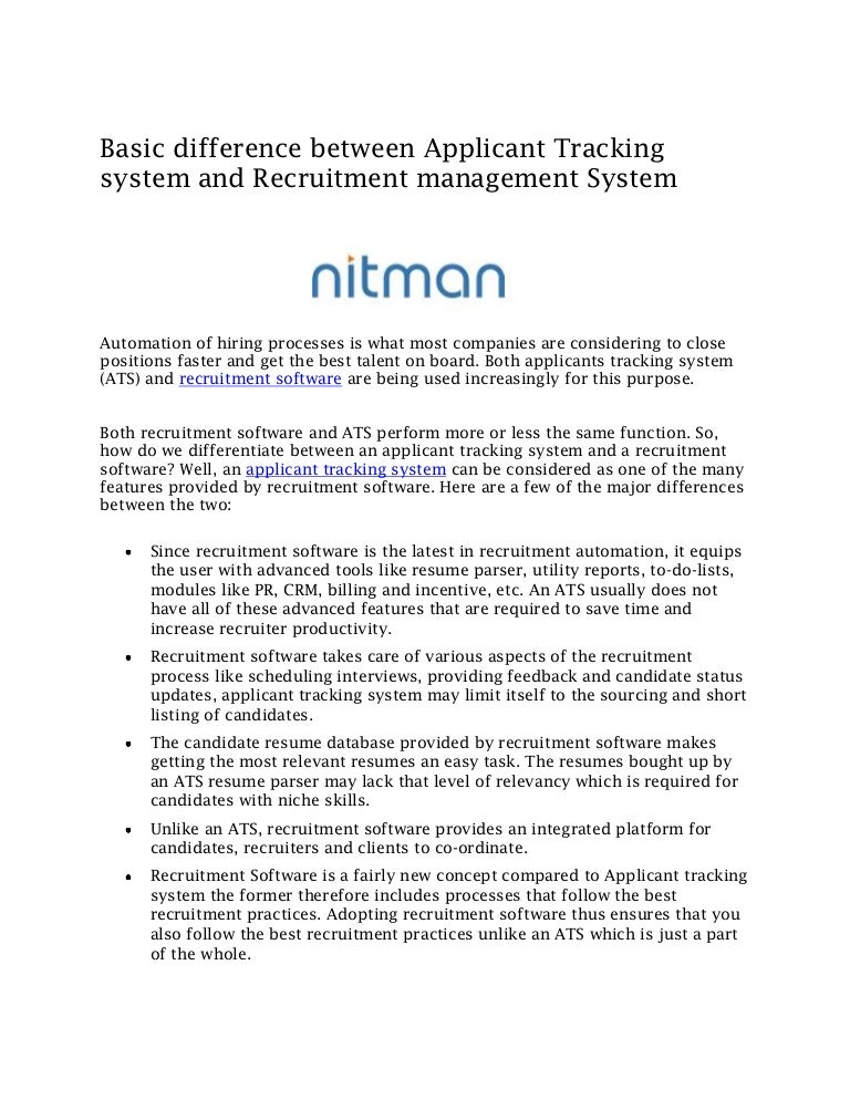 basic difference between applicant tracking system and recruitment ma