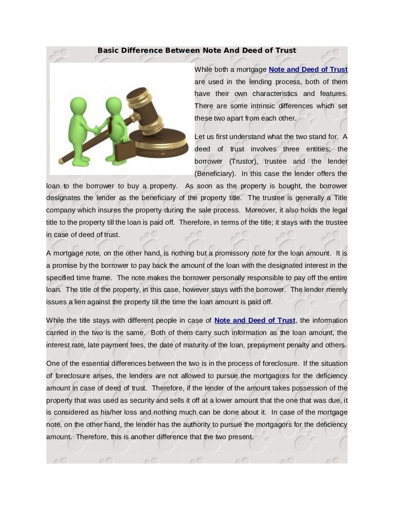 Basic Difference Between Note And Deed Of Trust