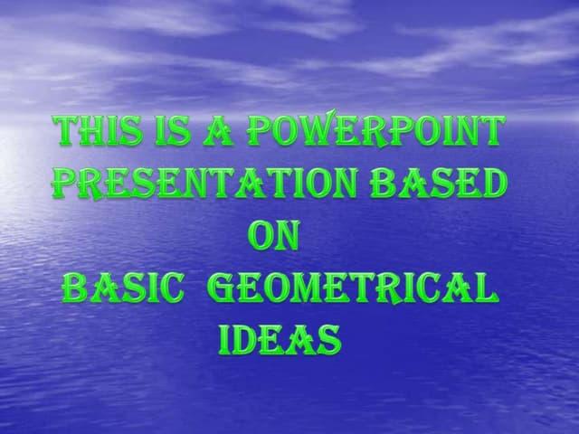 Basic geometrical ideas class vi
