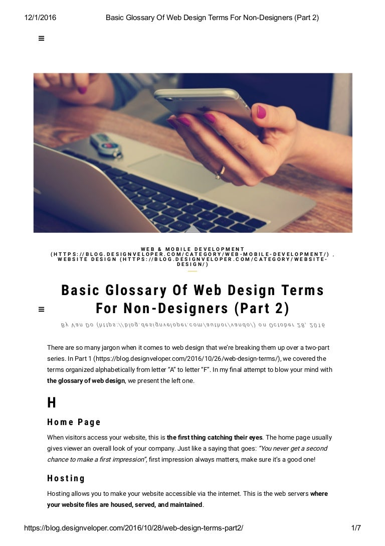 Basic glossary of web design terms for non designers (part 2)
