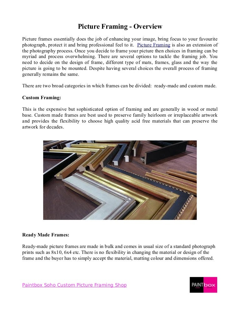 Overview for Types of Picture Framing