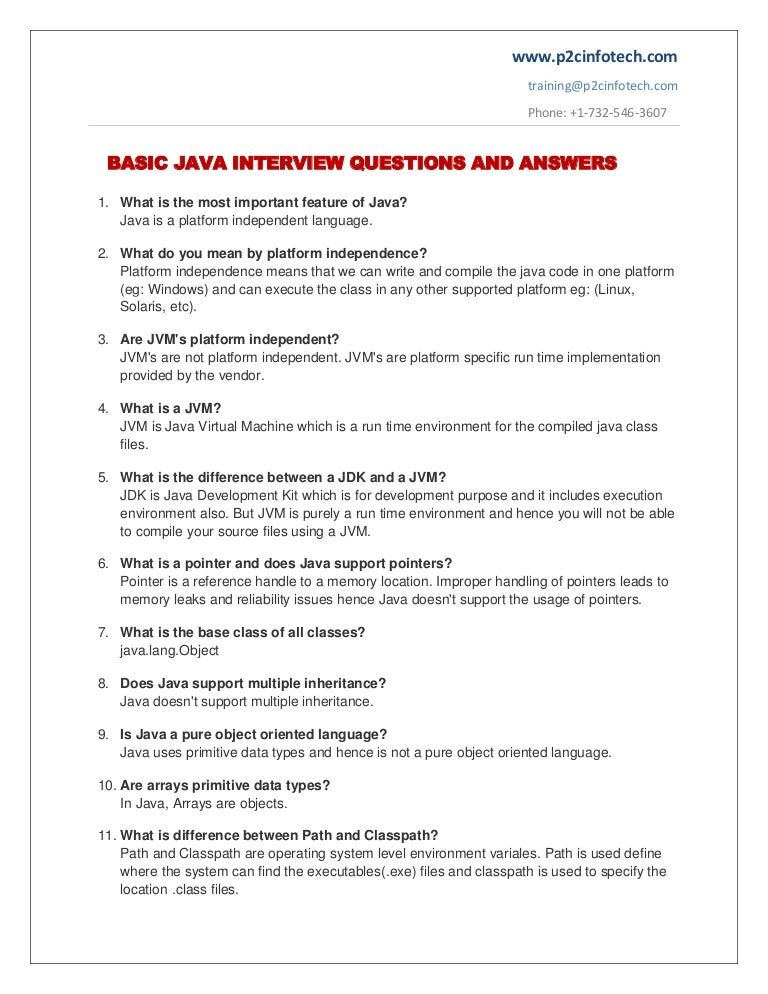 Basic java important interview questions and answers to ...