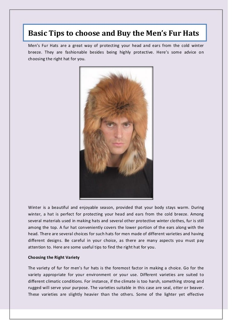 b33b5326943e5 Basic Tips to choose and Buy the Men s Fur Hats