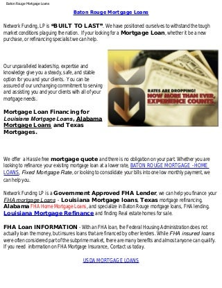 Baton Rouge Mortgage Home Loans