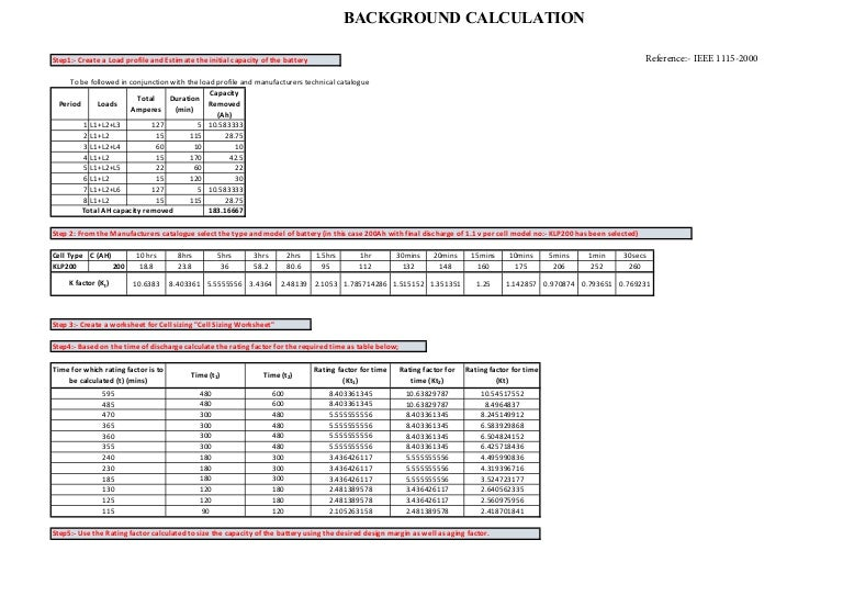 Battery Nicd Sizing For Static Applications Substations