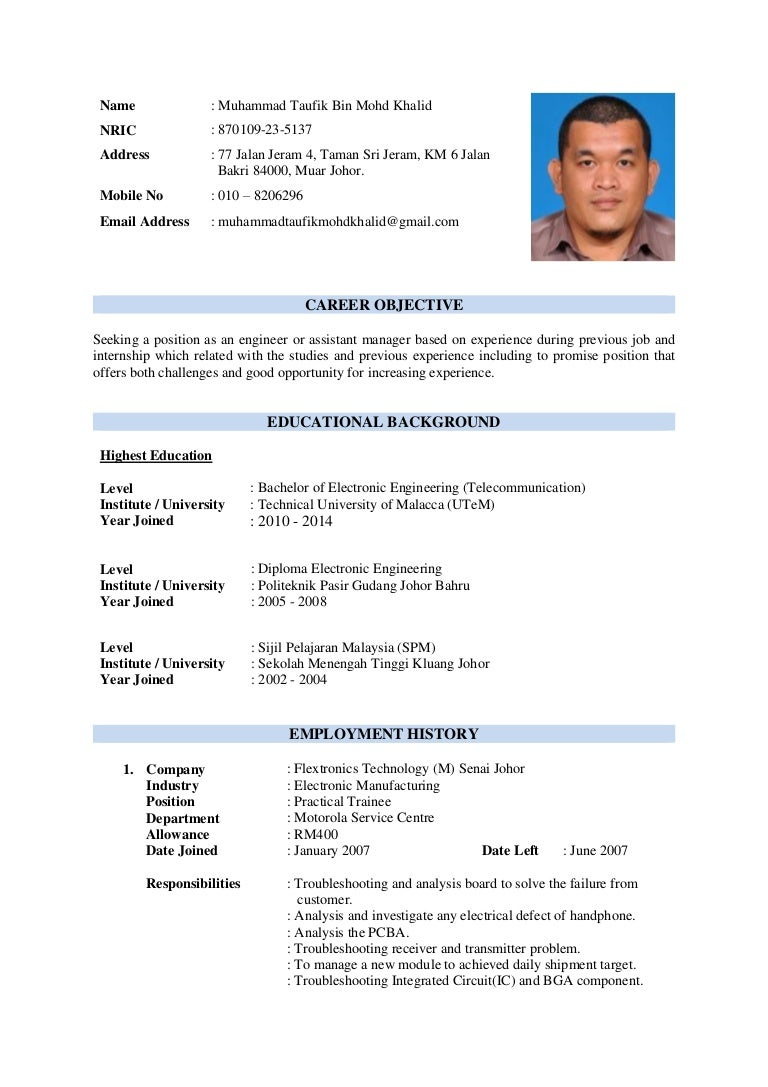 Muhammad Taufik Bin Mohd Khalid resume
