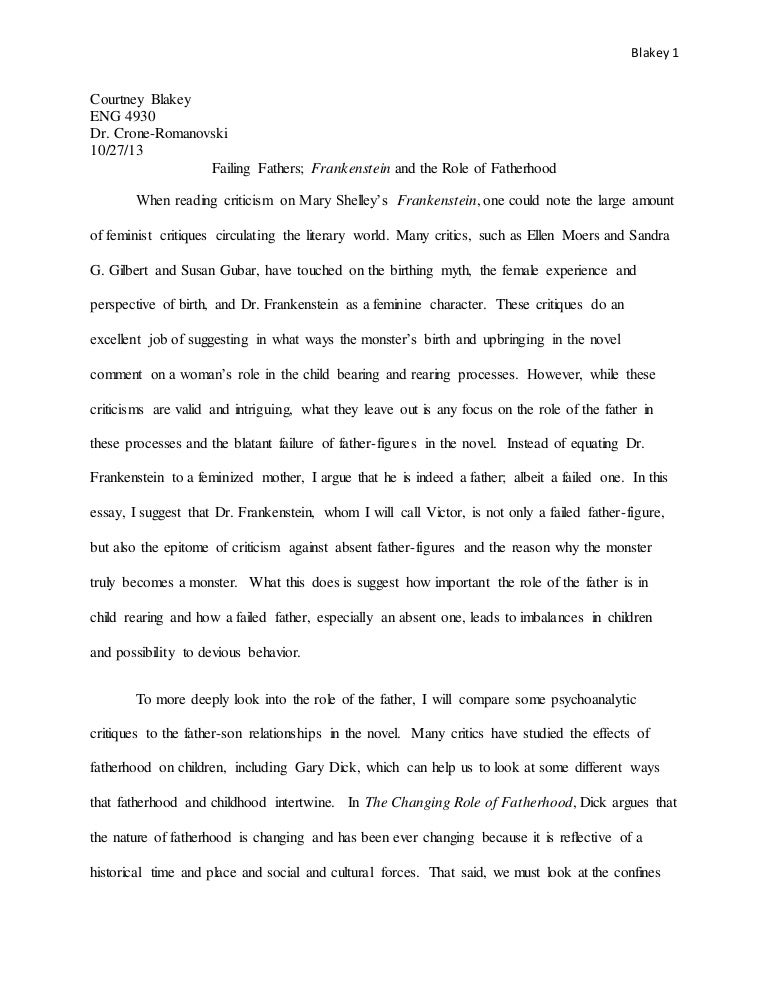 Job Essay Sample  How To Write An Conclusion For An Essay also Rough Draft Essay Failing Fathers In Frankenstein Spare The Rod And Spoil The Child Essay