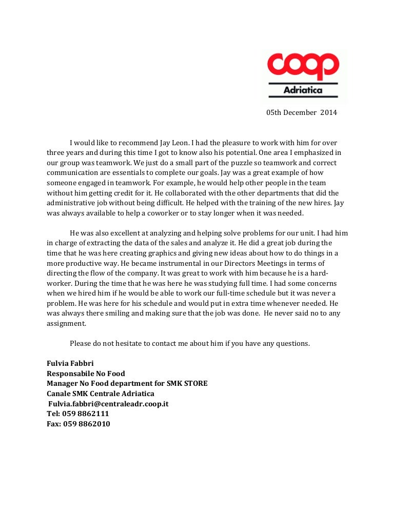 coop recommendation letter