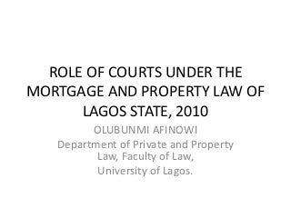 ROLE OF COURTS UNDER THE MORTGAGE AND PROPERTY