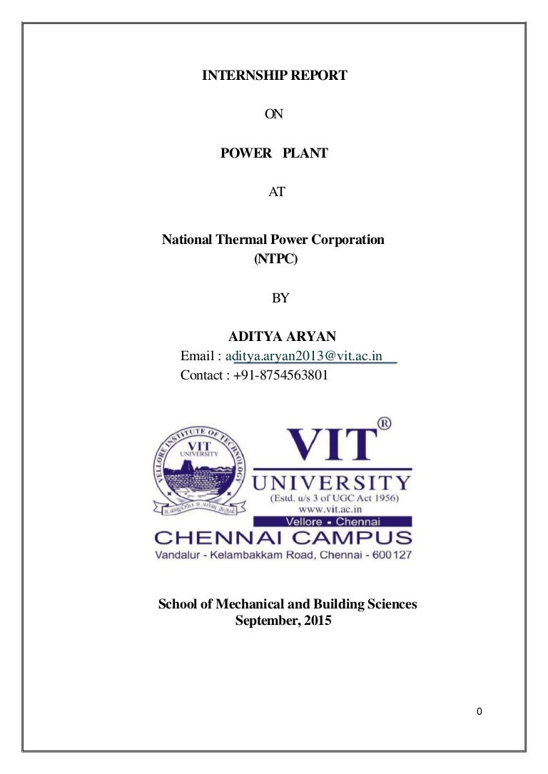 Letter Of Introduction Teacher INTERNSHIP REPORT NTPC 100