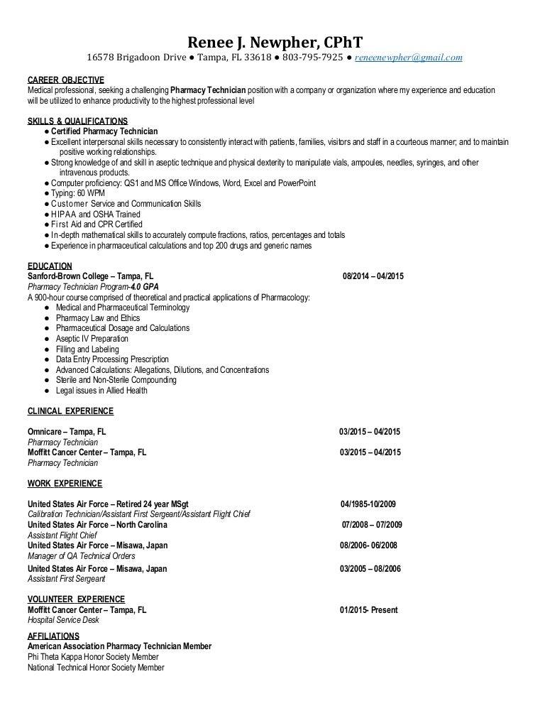 Free Professional Resume Pharmacy Technician Certification Nc