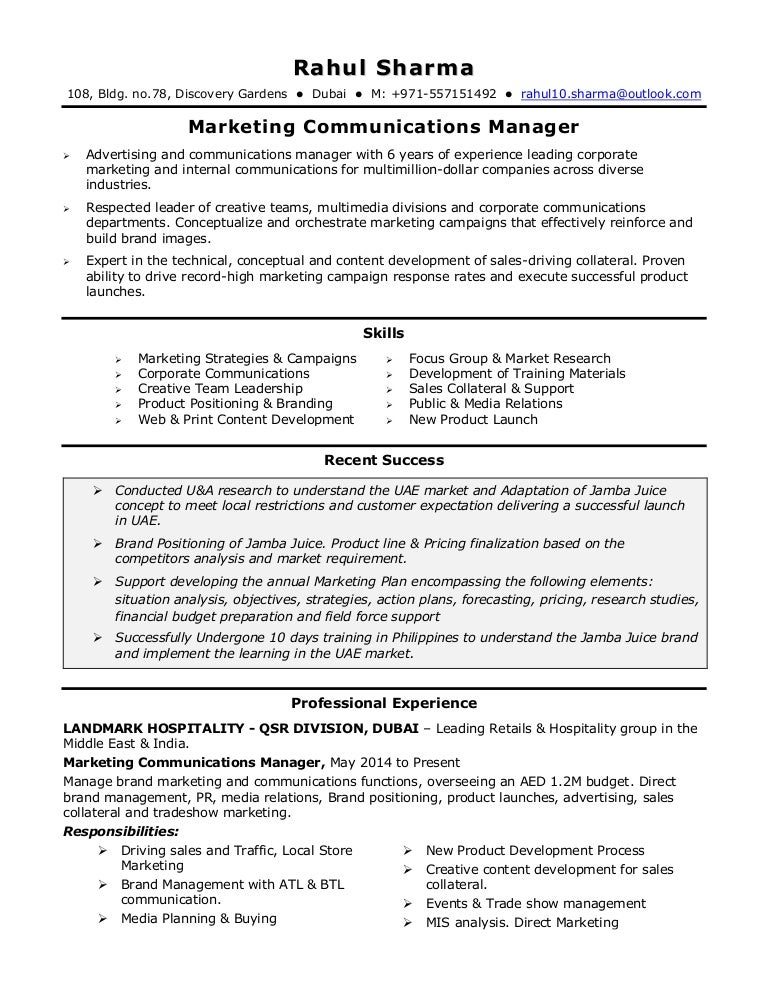 Communication Resume Samples Soccer Resume Samples Marketing VisualCV Cover  Letter Sample Marketing Communications Manager Cover Letter  Marketing Communications Resume