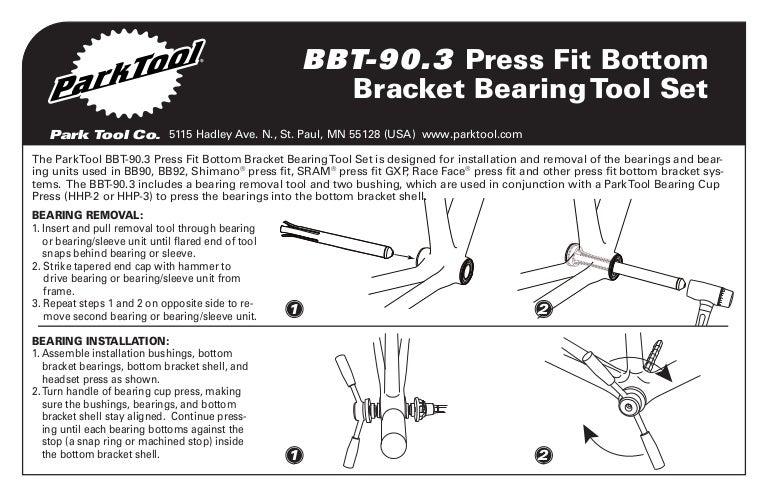 NEW Park Tool BBT-90.3 PressFit Bottom Bracket Bearing Tool Set