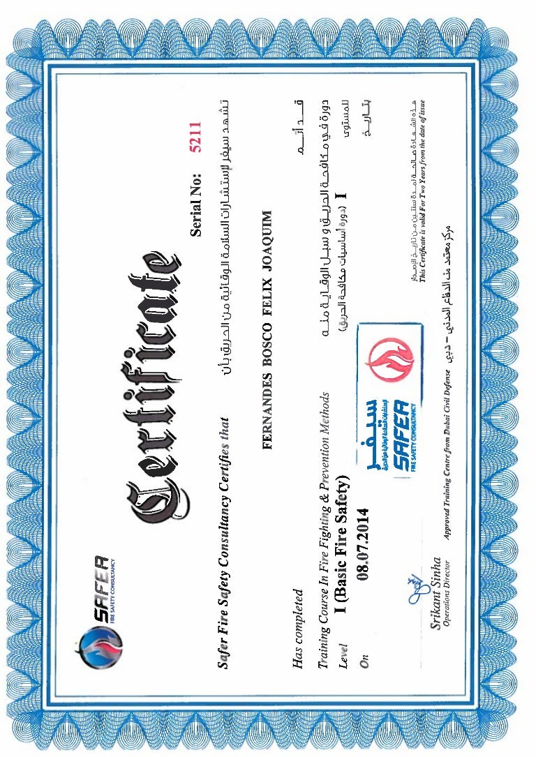 Certificate basic fire safety dps safea dubai 2014 xflitez Image collections