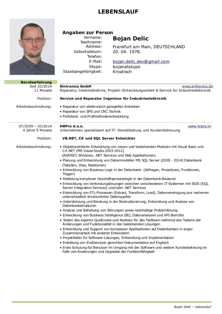 Beste Lebenslauf Für Elektroingenieur Mit Erfahrung Fotos - Bilder ...