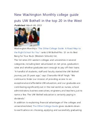 New Washington Monthly college guide puts UW Bothell in the top 20 in the West