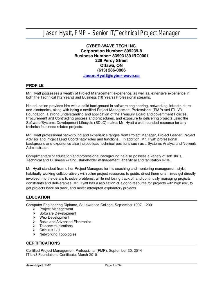 jason hyatt  pmp - resume - project manager