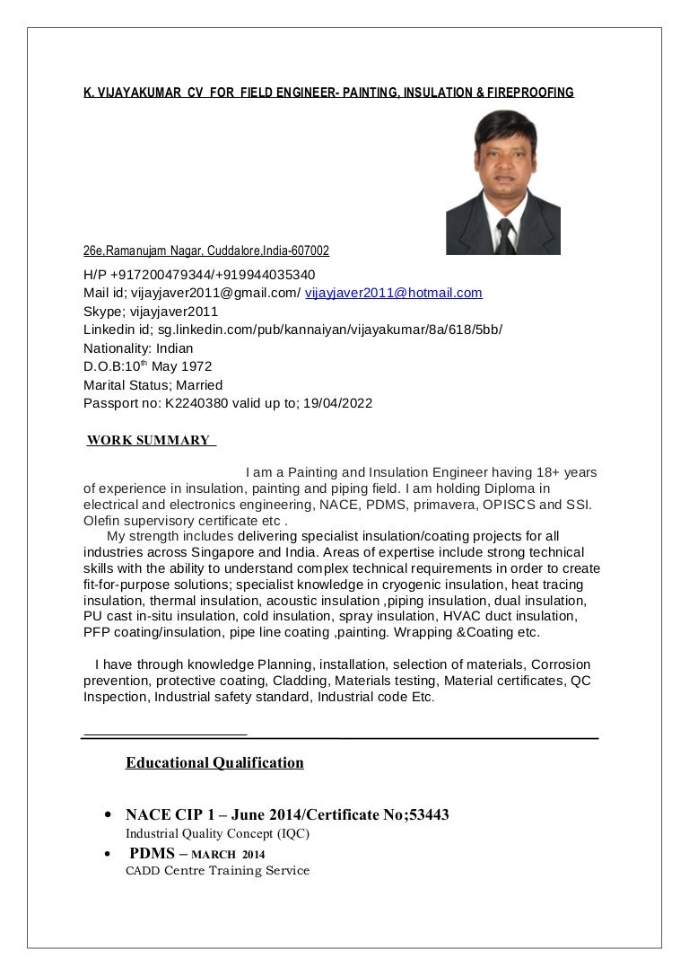 k vijayakumar cv for field engineer