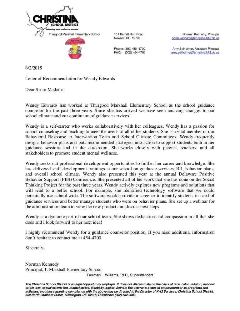principal letter of recommendation for wendy edwards