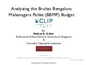 Mukul Asher: Analysing the Bangalore Municipal Budget