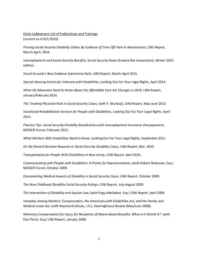 Kevin Liebkemann List of Publications and Trainings 2016