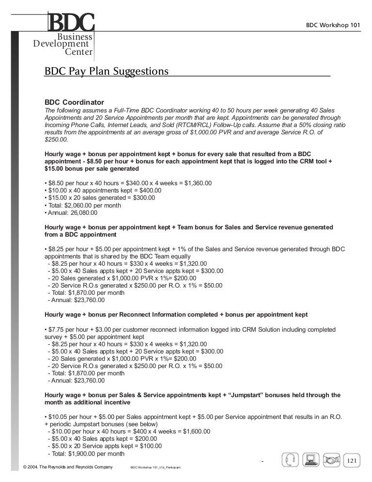 Bdc pay plans examples